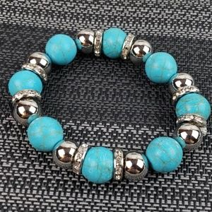 New Bracelet Stretch Turquoise and Silver